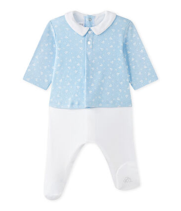 Baby boys' dual-fabric chemisette-all-in-one Toudou blue / Ecume white