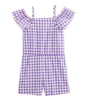 Girls' Playsuit Real purple / Marshmallow white