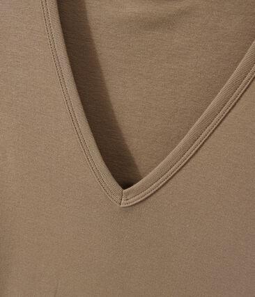 Women's original rib V-neck T-shirt Shitake brown