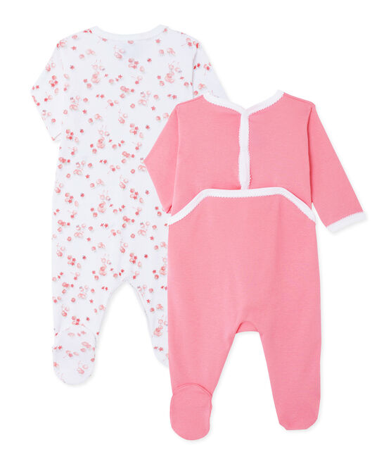 Surprise pack of 2 ribbed baby girl's sleepsuits . set