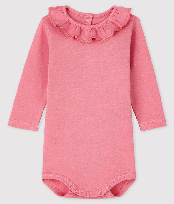 Baby girl's long-sleeved bodysuit Cheek pink / Dore yellow