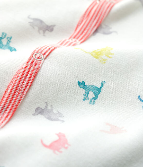 Babies' Colourful Cats Double-Sided Jersey Sleepsuit Marshmallow white / Multico white
