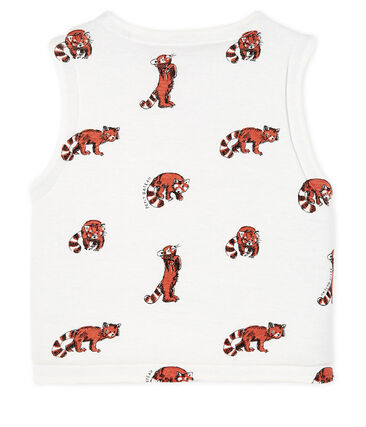 Baby Boys' Reversible Sleeveless Vest in Padded Rib Knit Marshmallow white / Multico white