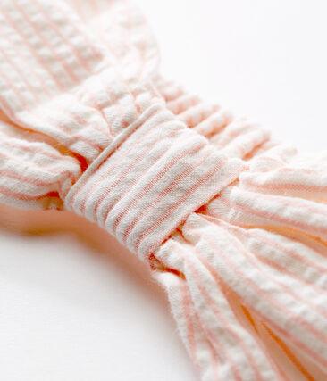 Baby girls' striped headband Marshmallow white / Rosako pink