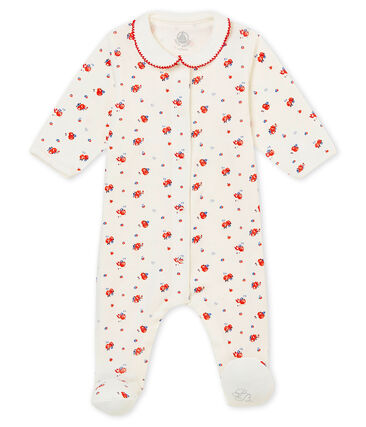 Baby girl's sleepsuit in brushed print soft cotton.