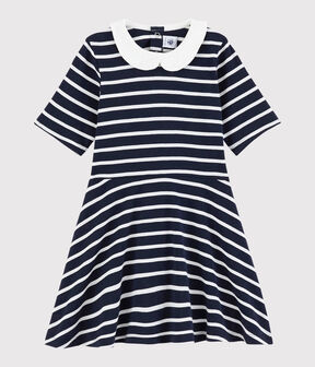 Girls' Short-Sleeved Cotton Dress Smoking blue / Marshmallow white