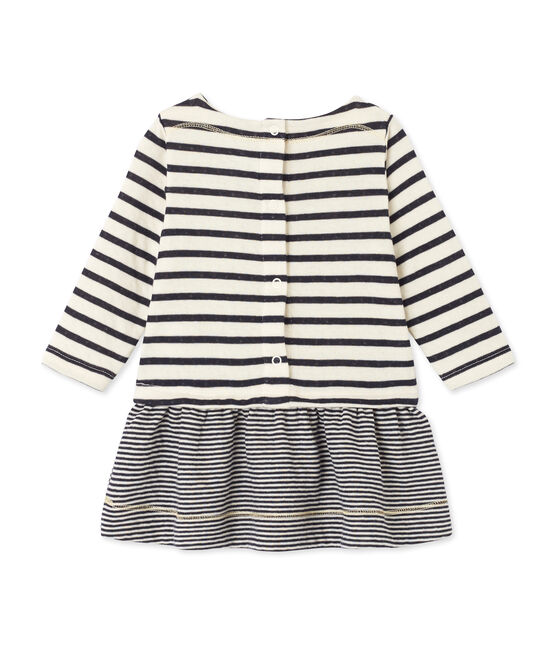 Baby girl's striped dress Coquille beige / Smoking blue