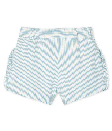 Baby Girls' Seersucker Shorts Marshmallow white / Acier blue