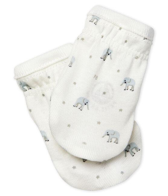 Babies' Rib Knit Mittens Marshmallow white / Multico white
