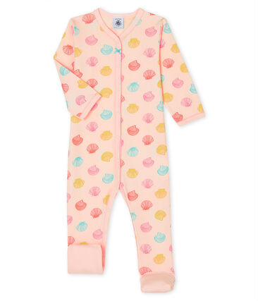 Baby Girls' Ribbed Sleepsuit Fleur pink / Multico white