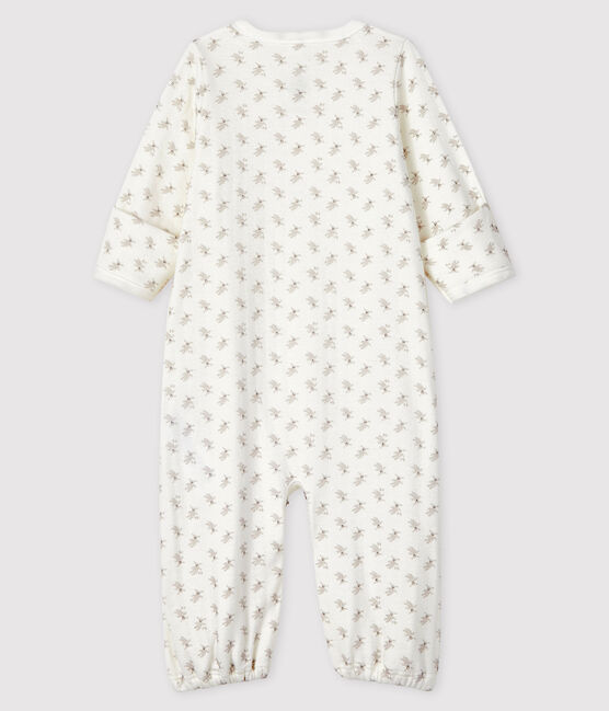Babies' Rabbit Print Organic Cotton Jumpsuit/Sleeping Bag Marshmallow white / Multico white