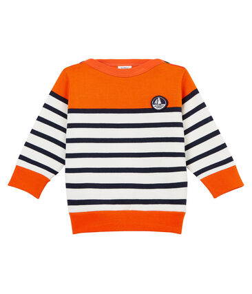 Baby boys' colourblock breton striped Sweatshirt Carotte orange / Marshmallow white