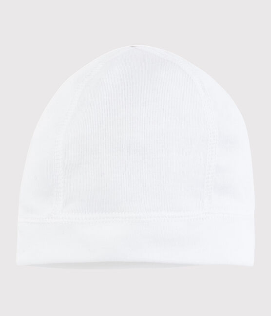 Newborn Babies' White Cotton Bonnet Ecume white