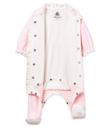 Baby girls' pinstriped velour bodyjama Pearl pink / Multico white