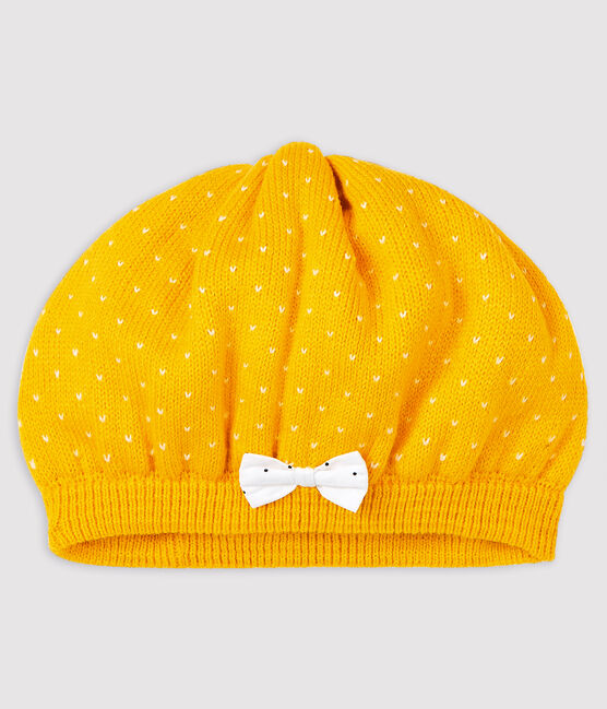 Knitted beret for baby girls Honey yellow / Marshmallow white