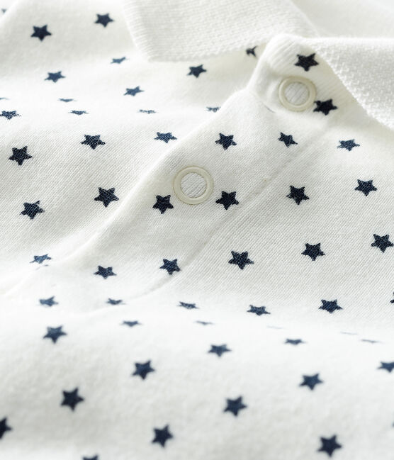 Baby Boys' Print Bodysuit with Polo Shirt Collar Marshmallow white / Smoking blue