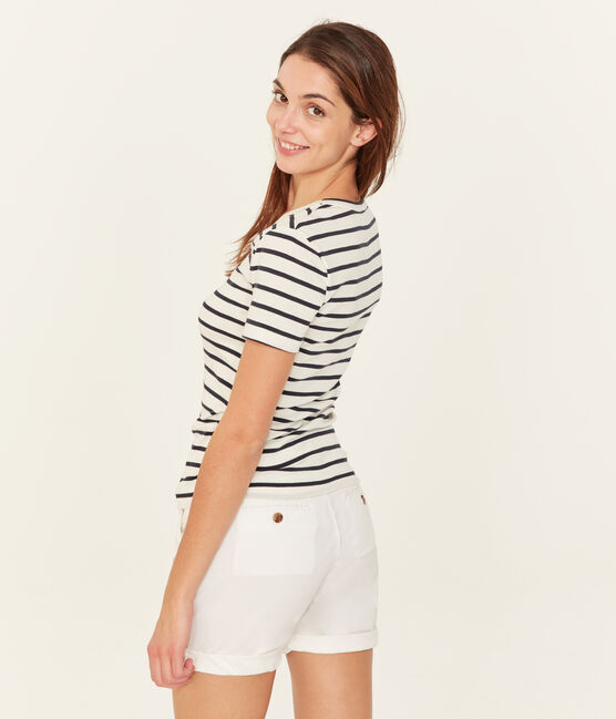 Women's short-sleeved v-neck iconic t-shirt Marshmallow white / Smoking blue