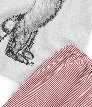 Boys' Ribbed Cropped Pyjamas Beluga grey / Multico white