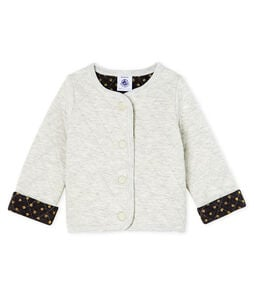 Baby Girls' Quilted Tube Knit Cardigan Beluga grey