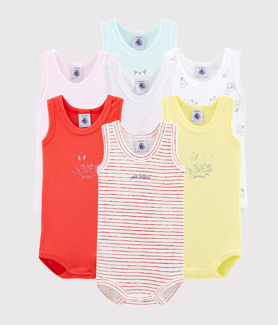 Surprise pack of 7 sleeveless bodysuits for baby boys . set