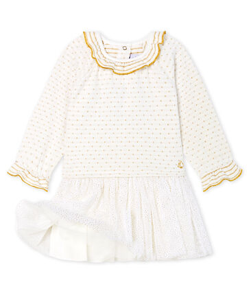 Baby Girls' Long-Sleeved Dual Material Dress Marshmallow white / Or yellow
