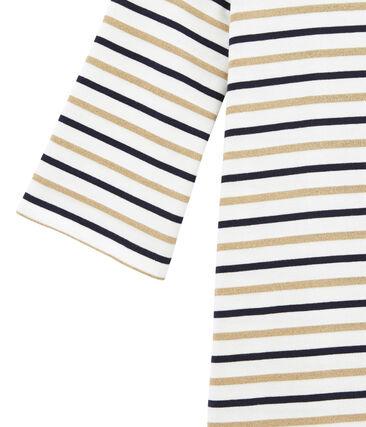 women's flared breton dress in three colour stripes