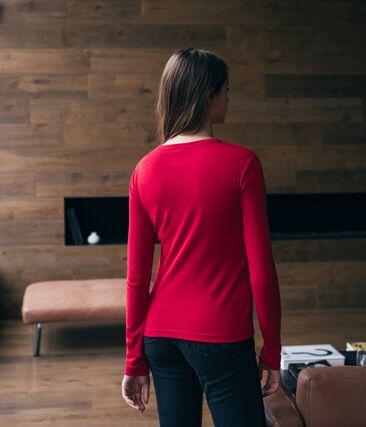 Women's Long-Sleeved Iconic T-Shirt Terkuit red