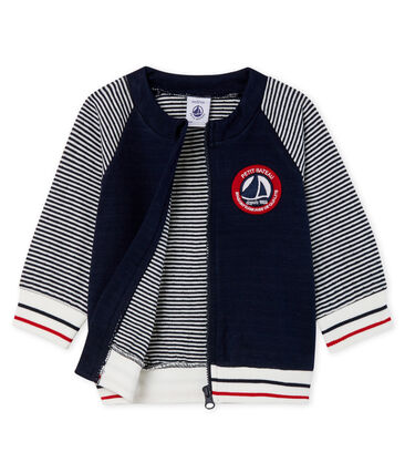 Baby Boys' Zip-Up Tube Knit Cardigan Smoking blue / Marshmallow white