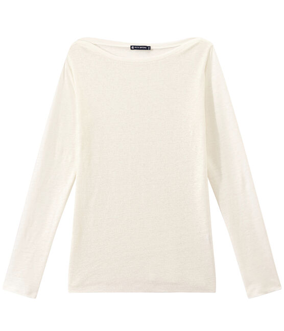 Women's iridescent linen long-sleeve tee Lait white / Or yellow