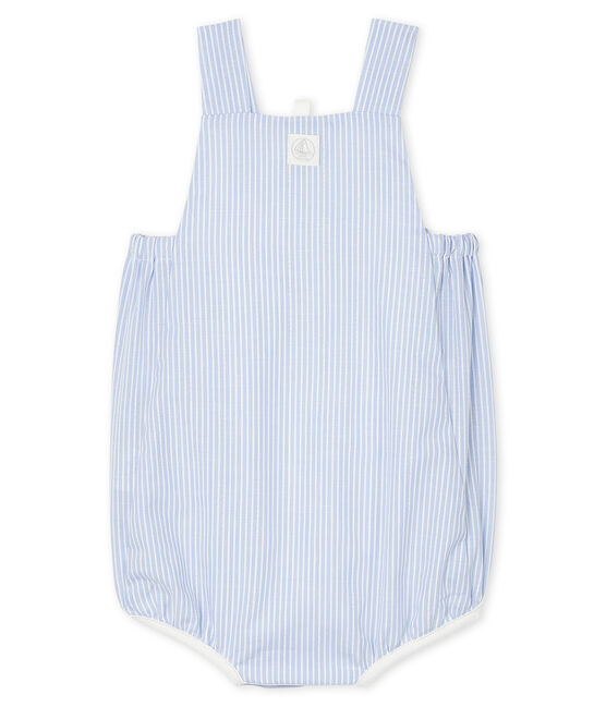 Unisex Baby's Striped Poplin Playsuit Marshmallow white / Multico white