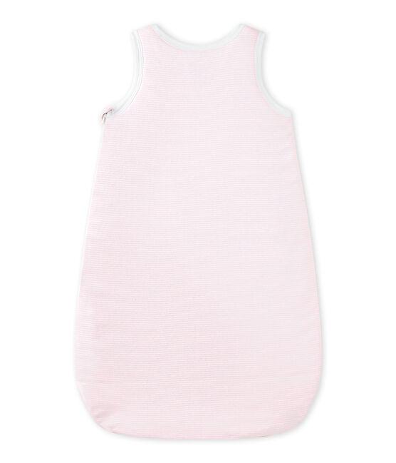 Baby girls' milleraies-striped newborn sleep sack Vienne pink / Ecume white