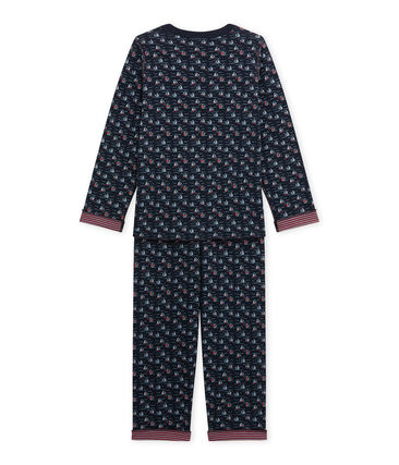 Boy's reversible pyjamas Smoking blue / Multico white