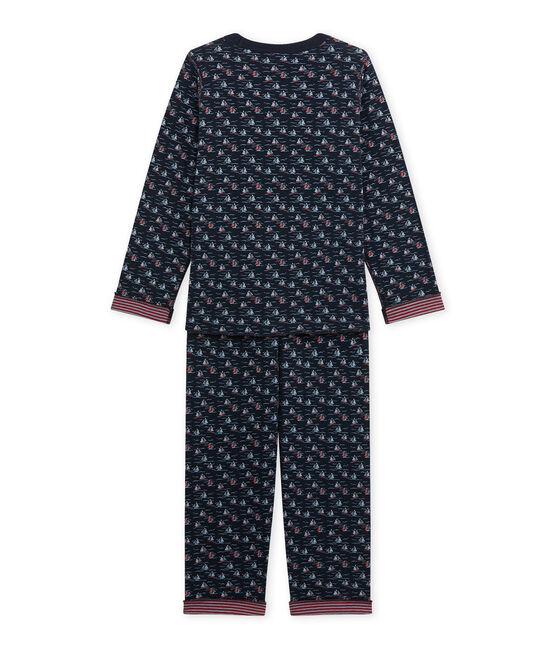 Boy's reversible pyjamas Smoking blue / Multico white
