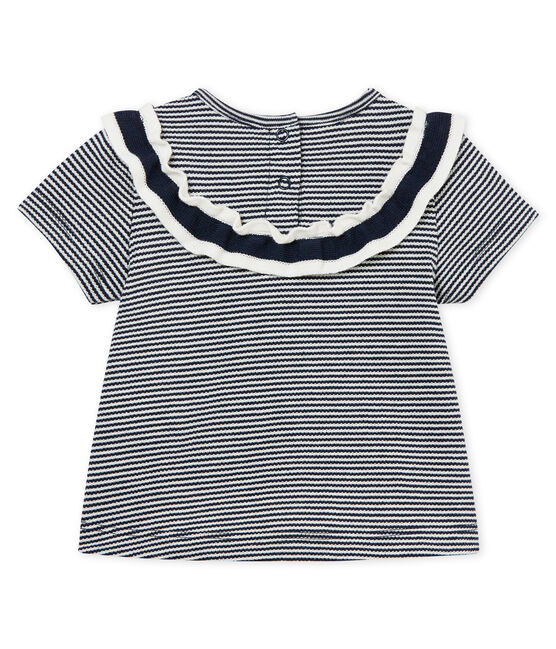 Baby girls' pinstriped blouse Smoking blue / Marshmallow Cn white