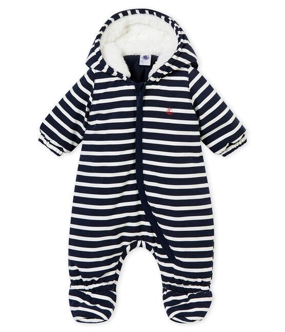 Baby Boys' Microfibre Snowsuit with Sailor Stripes Smoking blue / Marshmallow white