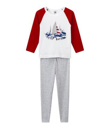 Boy's silkscreen print pyjamas Poussiere grey / Multico white