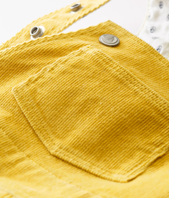 Baby boy's corduroy dungarees Ocre yellow