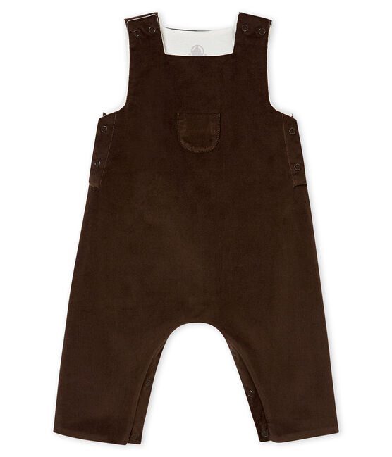 Baby boy's very fine corduroy dungarees Pepper brown