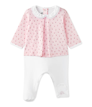 Baby girls' dual-fabric chemisette-all-in-one