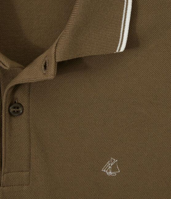 Men's polo in knit piqué Shitake brown