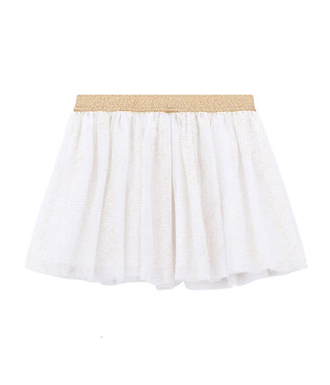 Girl's skirt Marshmallow white / Dore yellow