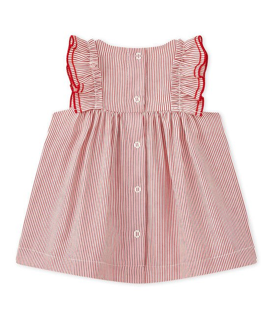 Baby girls' striped poplin dress Lait white / Terkuit red