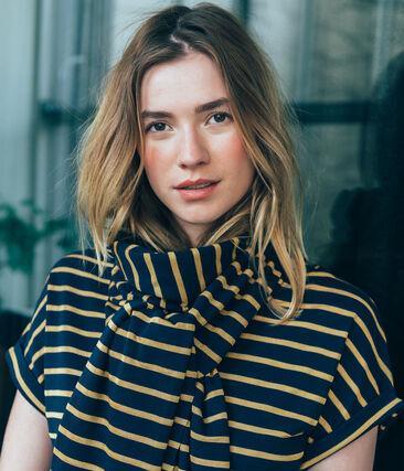 women's striped satiny scarf