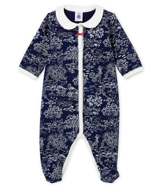 Baby girl's sleepsuit Smoking blue / Ecume white