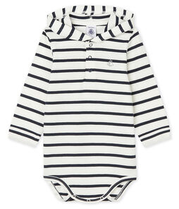 Baby Boys' Hooded Bodysuit Marshmallow white / Smoking blue