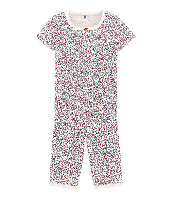 Girls' Snugfit short Pyjamas Marshmallow white / Multico white