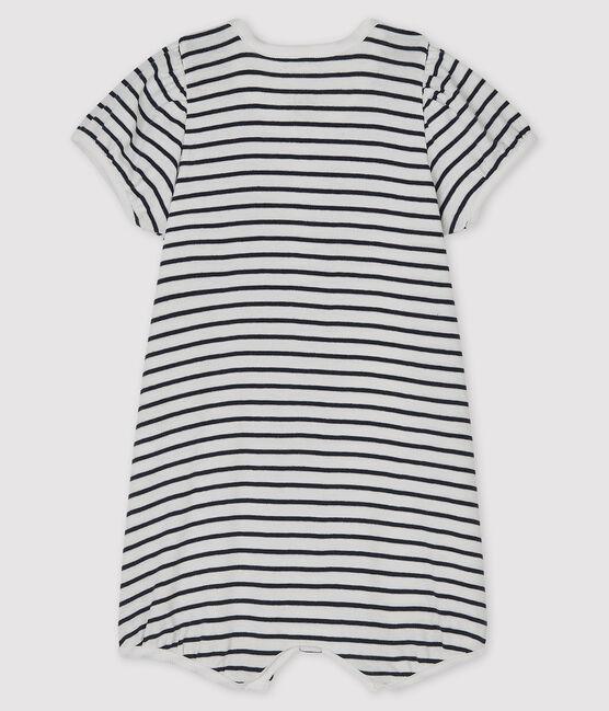Baby Girls' Rib Knit Playsuit Marshmallow white / Smoking blue