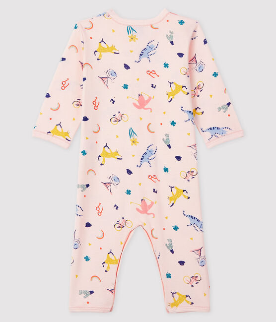 Baby Girls' Footless Ribbed Sleepsuit Fleur pink / Multico white