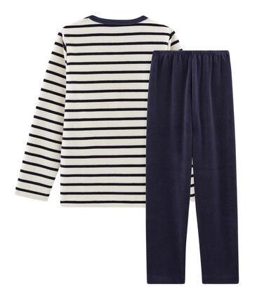 Boys' Velour Pyjamas Smoking blue / Coquille beige