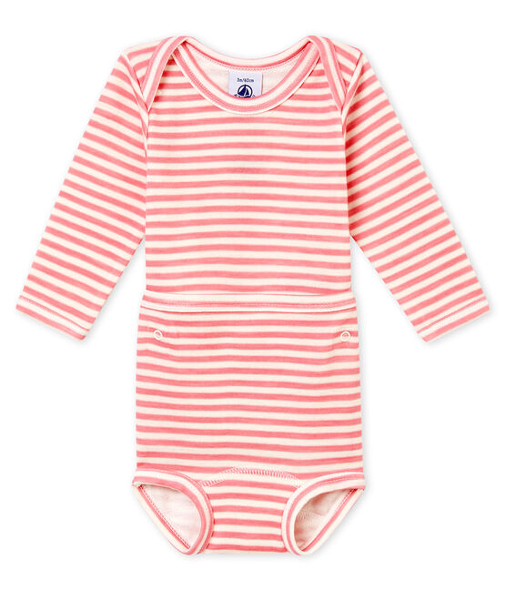 Baby boy's two-in-one long sleeved body Cheek pink / Marshmallow white
